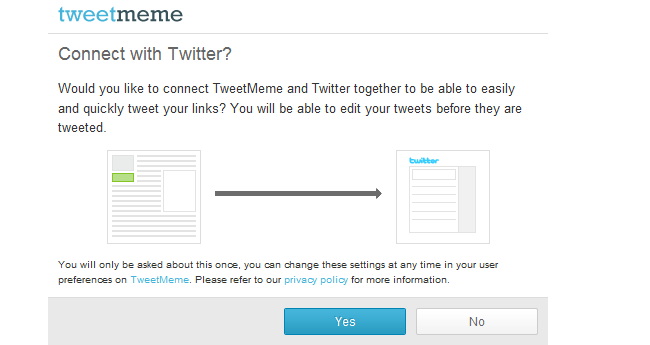 Clicking the yes button sends the request to twitter twitter then